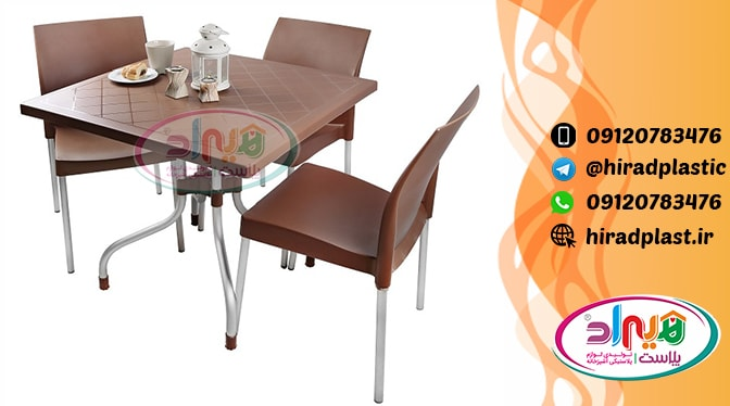 میز صندلی پلاستیکی پایه فلزی